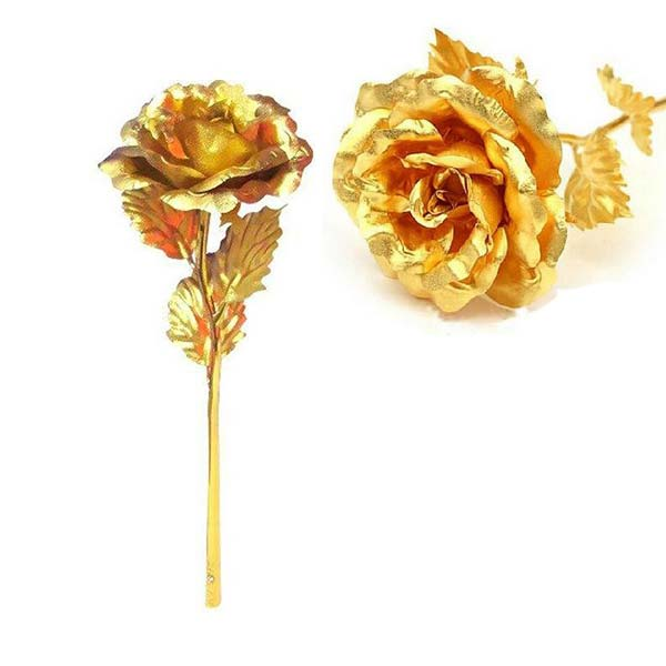 تخفیف شاخه طلایی گل رز همراه استند ( هدیه روز زن )